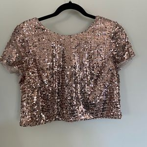 Adrianna Papell rose gold sequin CropTop